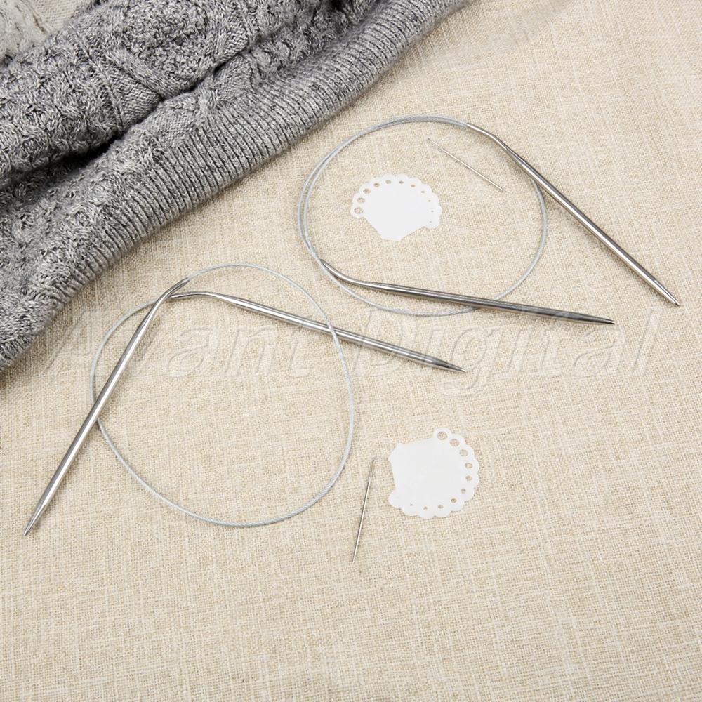 11Pcs 60//80cm Stainless Steel Circular Knitting Needles Size 1.5mm-5mm