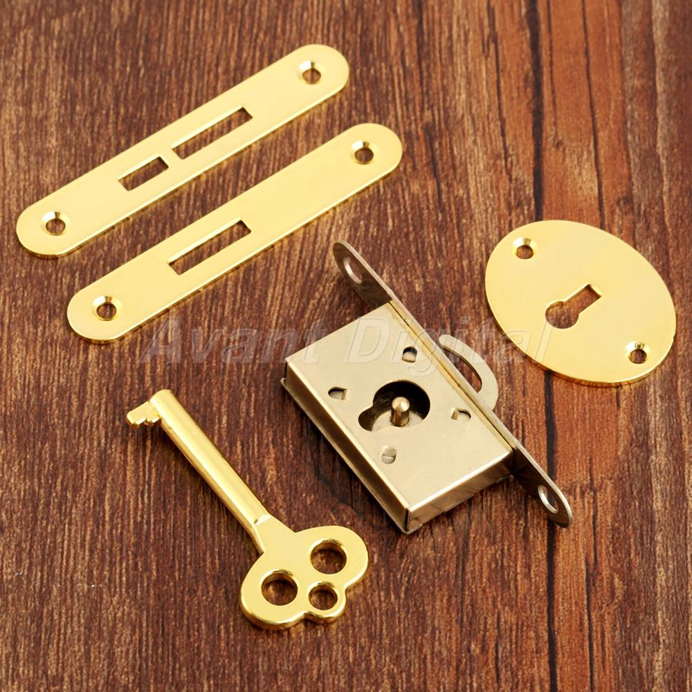 Vintage Lock With Key Set Drawer Cabinet Wardrobe Cupboard Jewelry Box Hardware