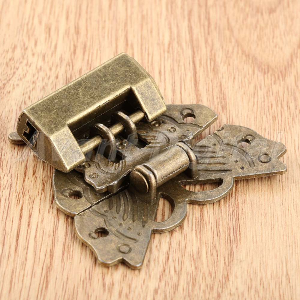 Butterfly Box Latch Clasp w// 60*38*13mm Chinese Old Padlock Lock Key Hardware Se