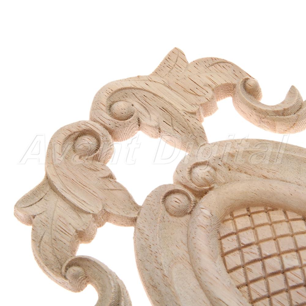 Unpainted SolidWood Round Applique Door Heart Decorative Oak Wood DIY Wall Door