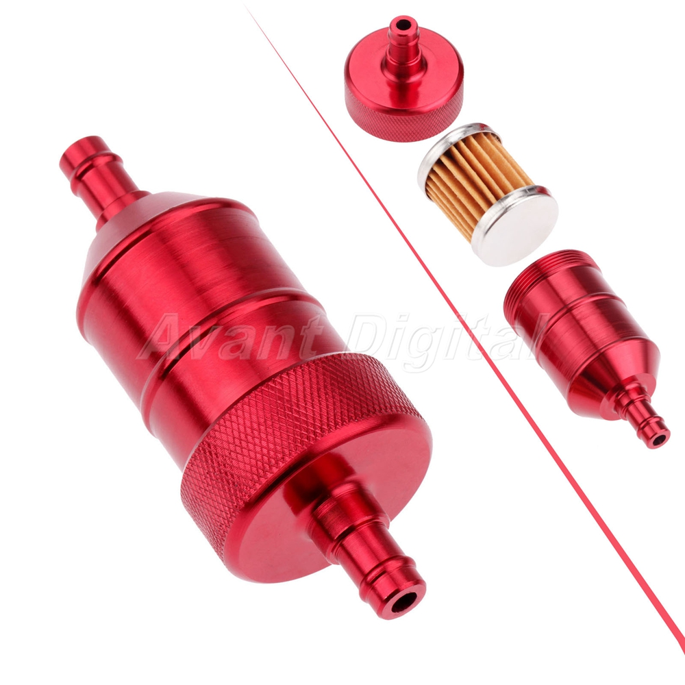 Red Universal 6mm Oil Fuel Filter Cleaner for Motorcycle Pit Dirt Bike ATV